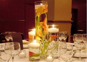 DIY Wedding Centerpiece with Flowers and Candles