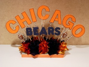 Chicago Bear Theme Sign In Table Centerpiece