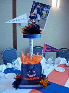 Chicago Bear Theme Two Level Centerpiece