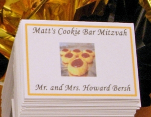 Cookie Theme Custom Bar Mitzvah Party Place Cards