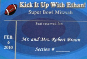 Custom Football Place Card - Ticket Type Blue